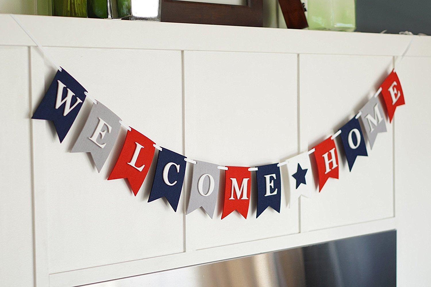 Amazon.com: Welcome Home Banner Bunting Laser Cut Felt 54 inches ...