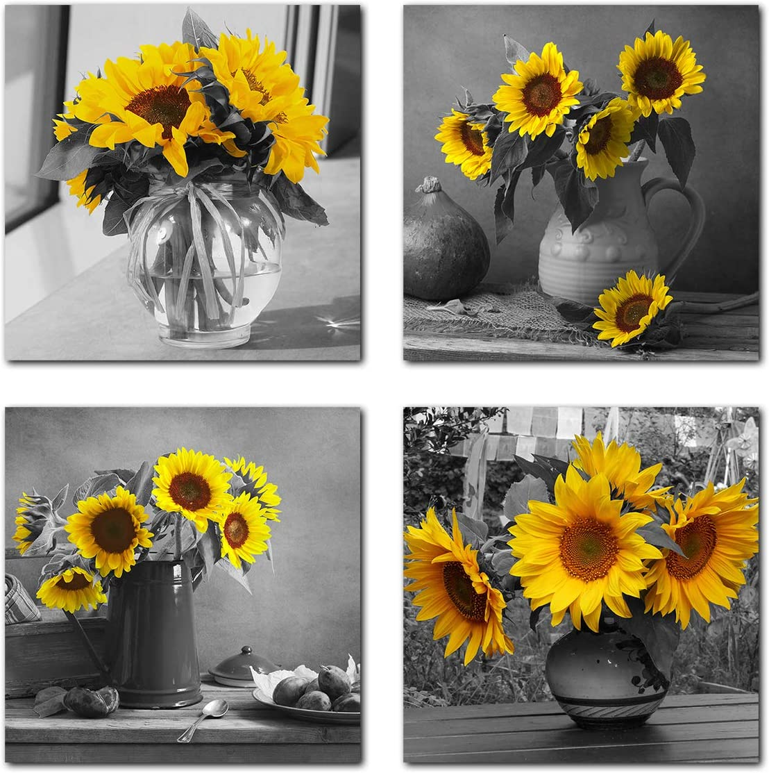 Sunflower Canvas Wall Art Yellow Floral Pictures Blossom Flowers Black and White Painting Prints 4 Panel Bathroom Bedroom Living Room Decor 12 x 12 Inches