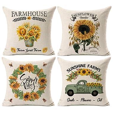 Kithomer Set of 4 Summer Graden Decorative Throw Pillow Cover Watercolor Truck with Sunflower Retro Farmhouse Decorative Pillow Case Cotton Linen Cushion Cover for Sofa Home Decor 18 inch