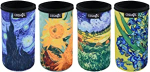 CM Soft Neoprene Slim Can Sleeves Insulators Slim Can Covers with Van Gogh Painting The Starry Night Sunflowers Painting Pattern for 12 Fluid Ounce Energy Drink & Beer Cans