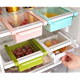 MineDecor Plastic Storage Containers Square Food Storage Organizer Drawer for Refrigerator Fridge Desk Table (Set of 4 Pack, Small Organizer Bins)