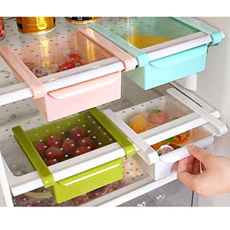 a523baab901e MineDecor Plastic Storage Containers Square Food Storage Organizer Drawer  for Refrigerator Fridge Desk Table (Set of 4 Pack, Small Organizer Bins)