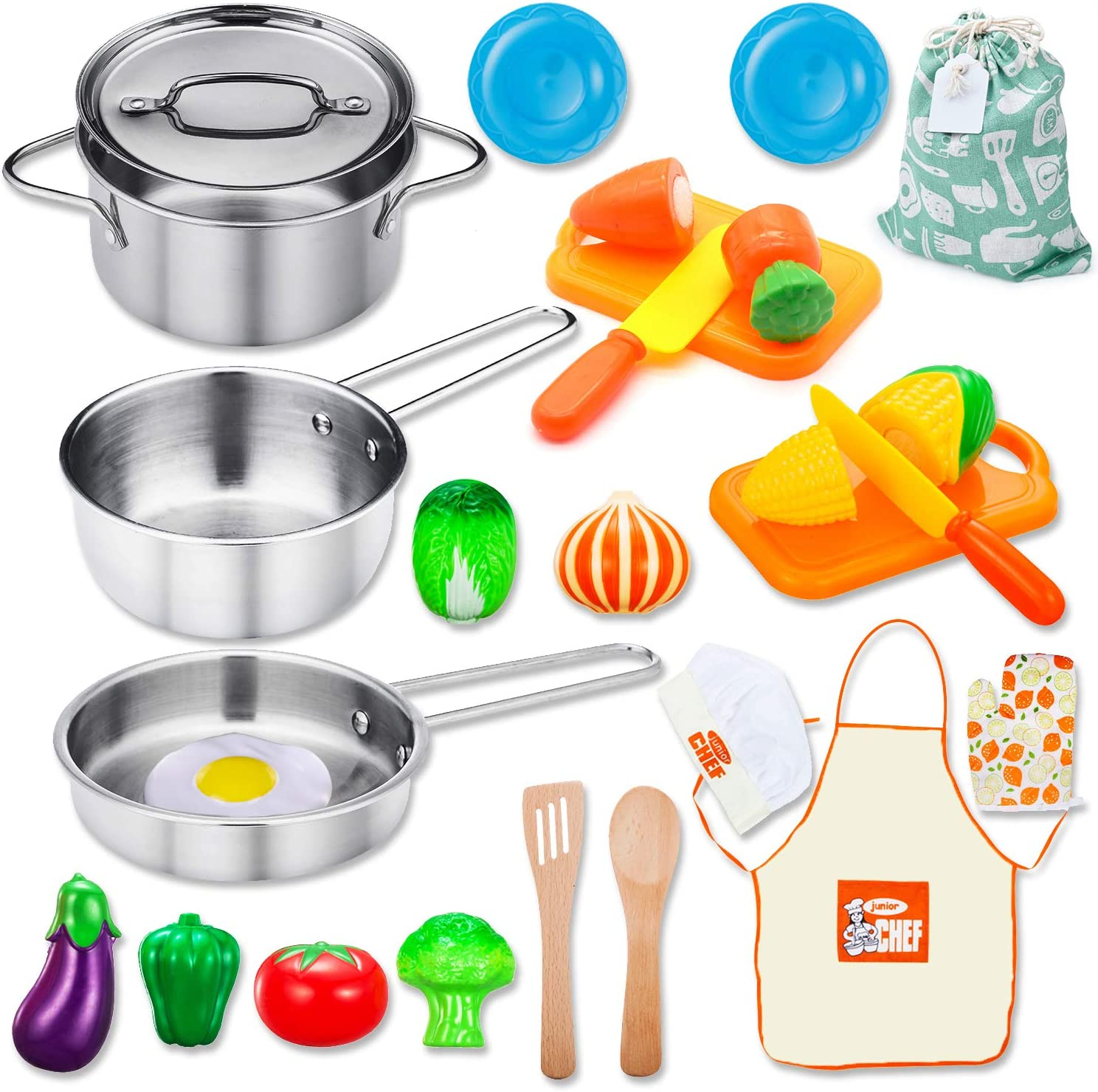 Amazon Com Kitchen Playset Accessories Toys Stainless Steel Cookware Pots And Pans Set Cooking Utensils Apron Chef Hat Cutting Play Food For Kids Toddler Boys Girls Educational Learning Tool