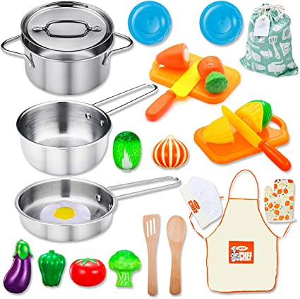 Kids Pretend Cooking Playset Kitchen Toys Cookware Play Set Toddler Child Gift