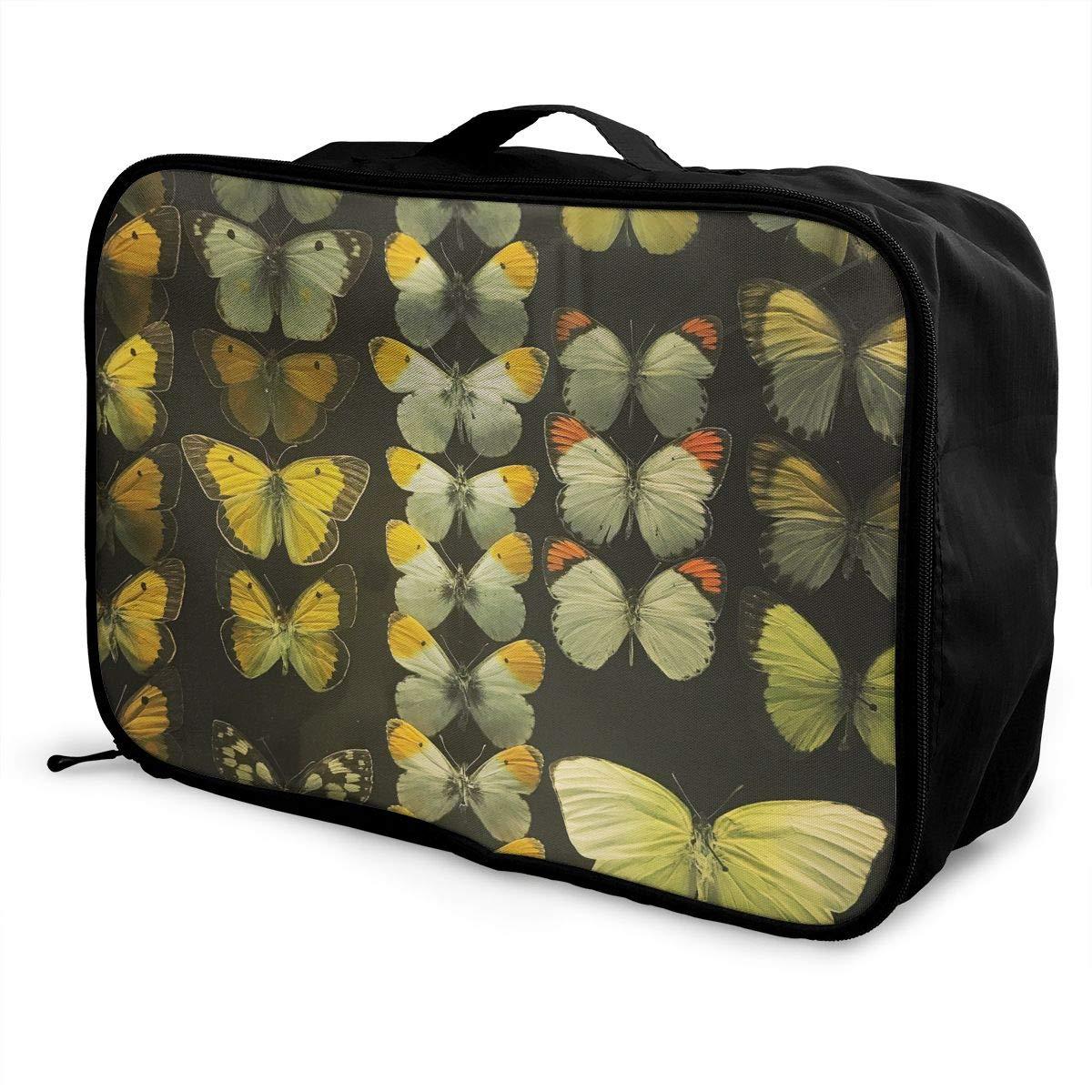 Travel Luggage Duffle Bag Lightweight Portable Handbag Butterfly Pattern Large Capacity Waterproof Foldable Storage Tote