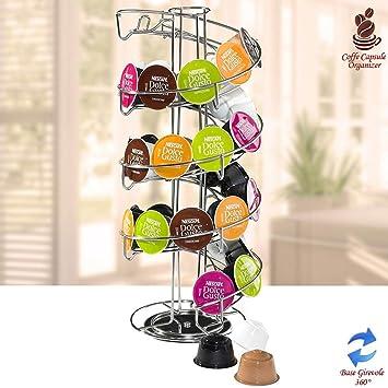 vetrineinrete® Puerta cápsulas giratorio dispensador recipiente Stand a espiral para cápsulas de café nespresso Lavazza de metal: Amazon.es: Hogar