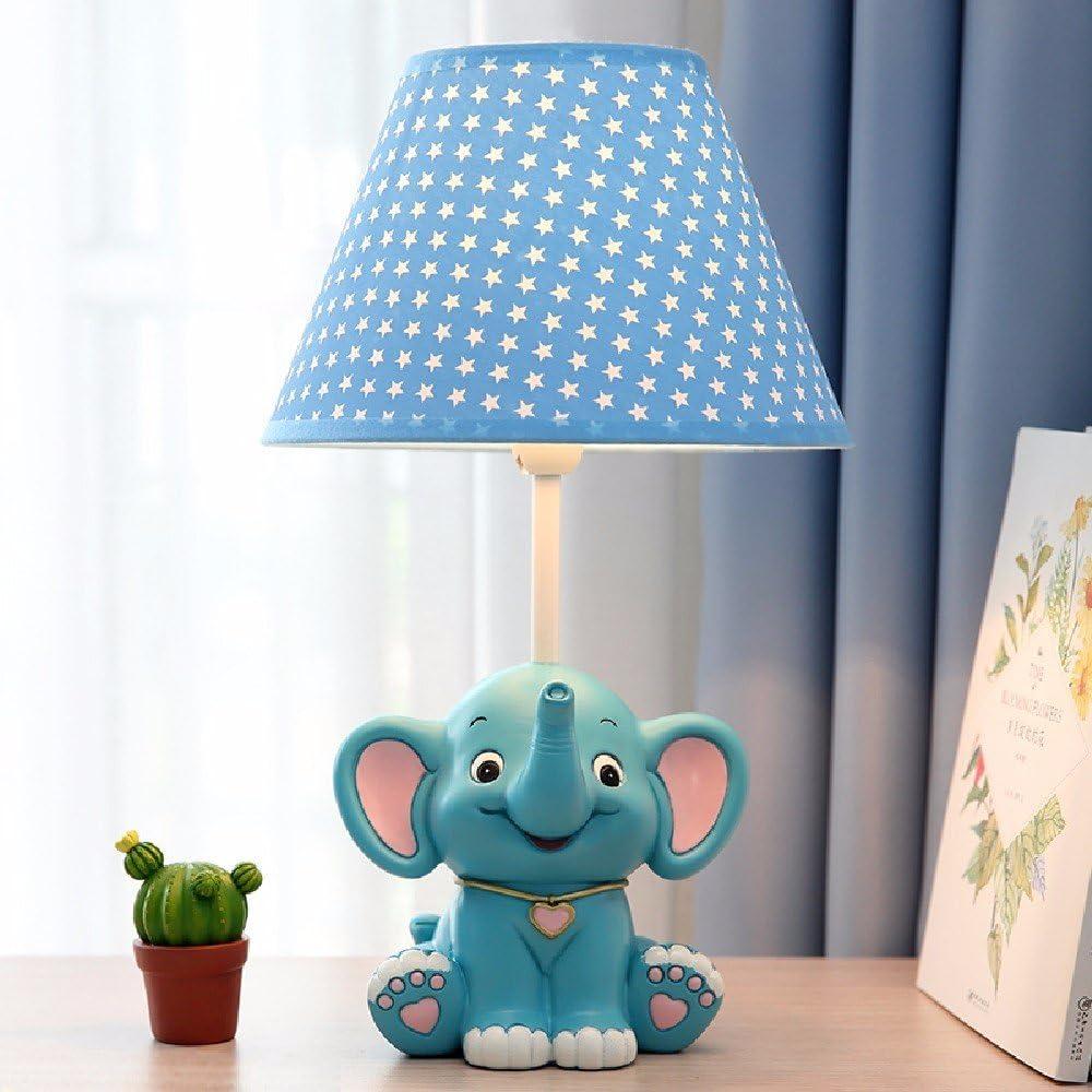 ARTSYLAMP of Blue /& Grey Elephants with Elephants Children S of Cute Elephants Wood Base Decoration Desk Table Bedside Light Lamp