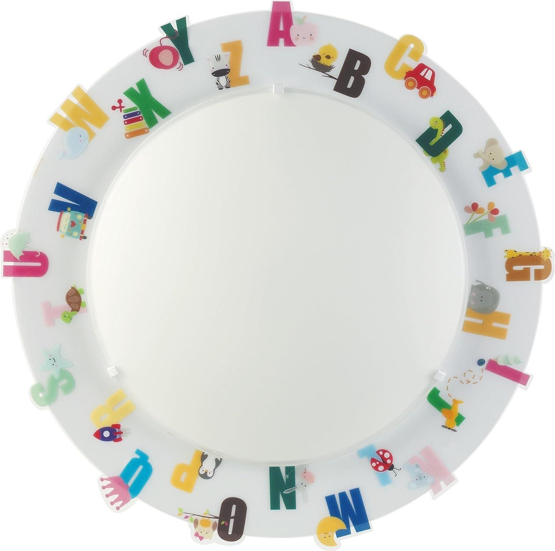Dalber Die ABC Decken Wandlampe Glas E27, MultiFarbe 43 x 43 x 8 cm