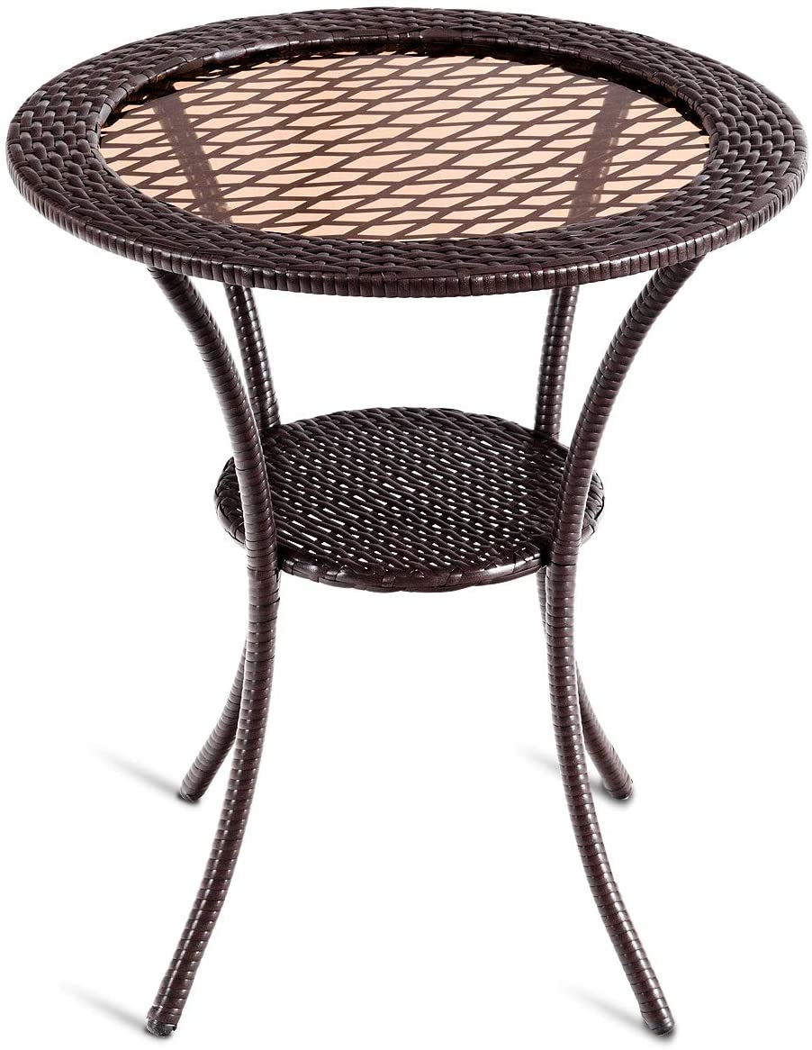 "Tangkula 25"" Patio Wicker Coffee Table Outdoor Backyard Lawn Balcony Pool Round Tempered Glass Top Wicker Rattan Steel Frame Table Furniture W/Lower Shelf: Kitchen & Dining"