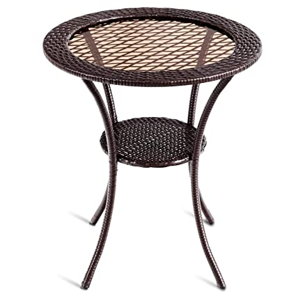 TANGKULA 25u201d Patio Wicker Coffee Table Outdoor Backyard Lawn Balcony Pool  Round Tempered Glass Top