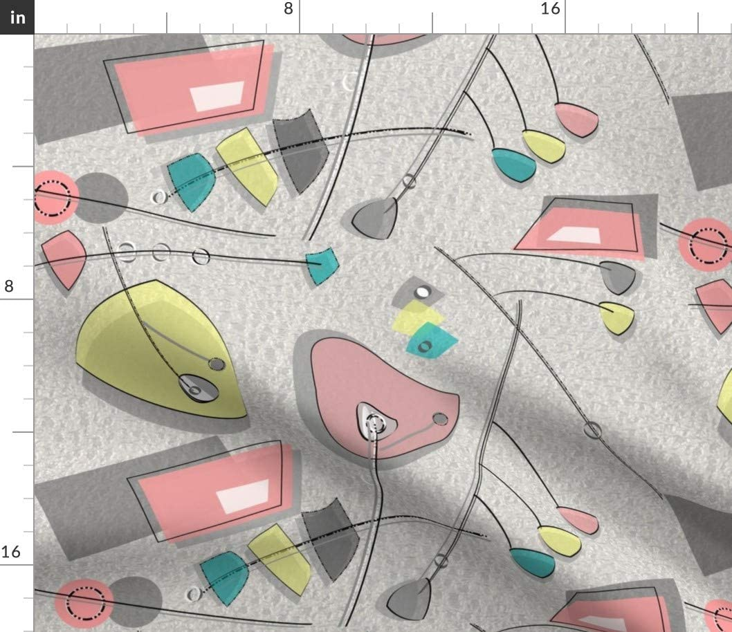 Spoonflower Fabric - Mid Century Modern Pastel Colors Atomic Era Inspired Retro Vintage Printed on Petal Signature Cotton Fabric by The Yard - Sewing Quilting Apparel Crafts Decor