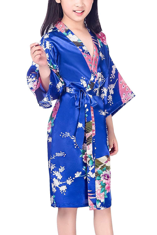 Pavo Flores Robe Albornoz Ropa de Dormir Pijama SPA nataci/ón cumplea/ños Qemsele Ni/ños Ni/ña Vestido Kimono Sat/én Camis/ón para Ni/ña