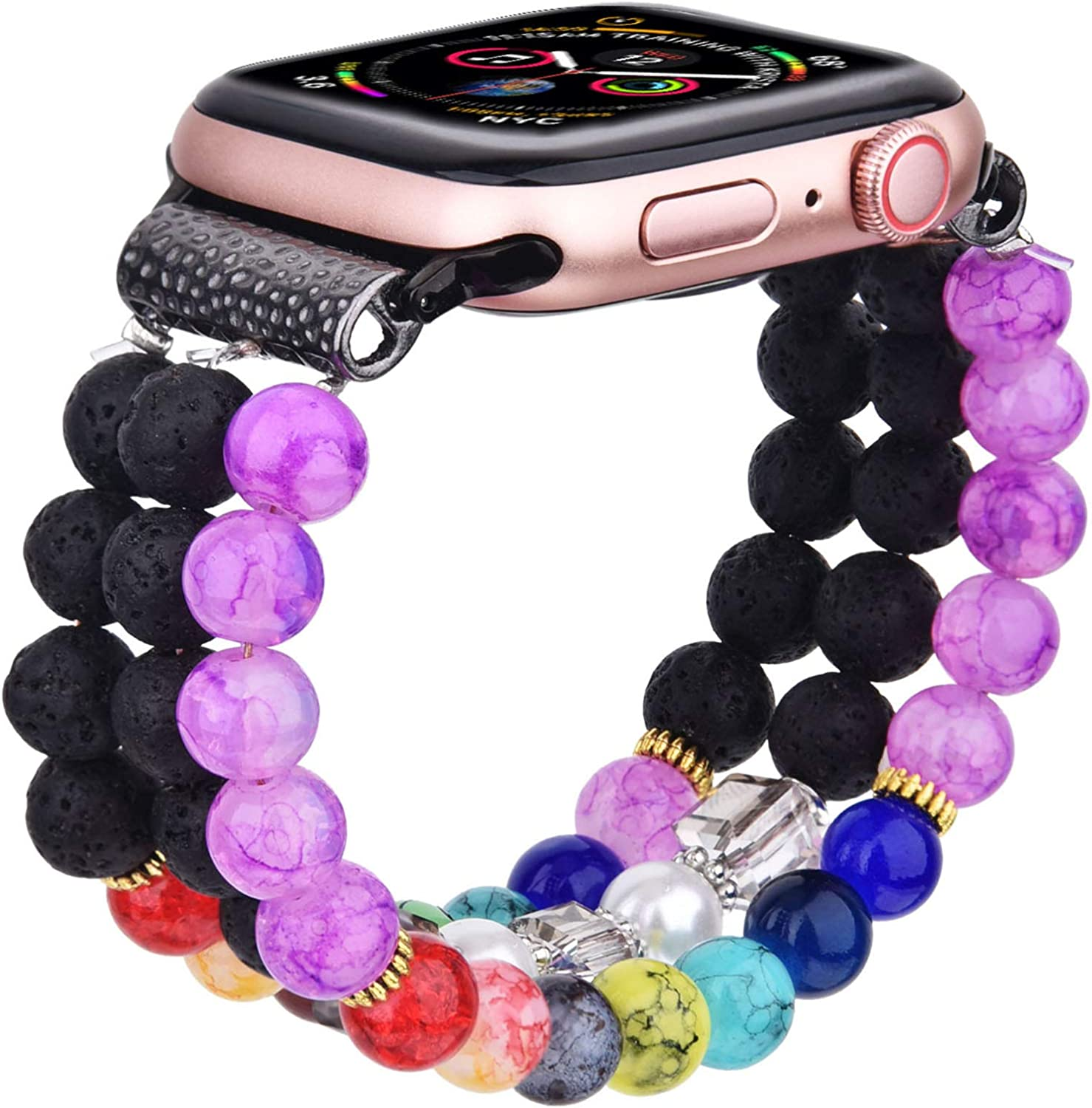 CAGOS Bracelet Beadeds Compatible with Apple Watch Band 42mm/44mm Series 6/5/4/3/2/1 Cute Handmade Fashion Elastic Stretch Beaded Strap Replacement with Stainless Steel Adapter for iWatch Black