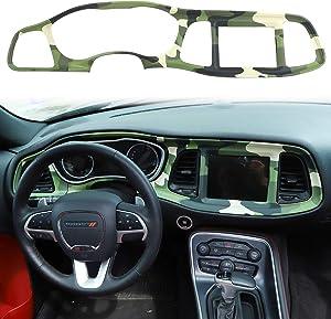 Voodonala for Challenger Center Consoles Dash Board Trim for 2015-2020 Dodge Challenger, ABS Camo, 4pcs