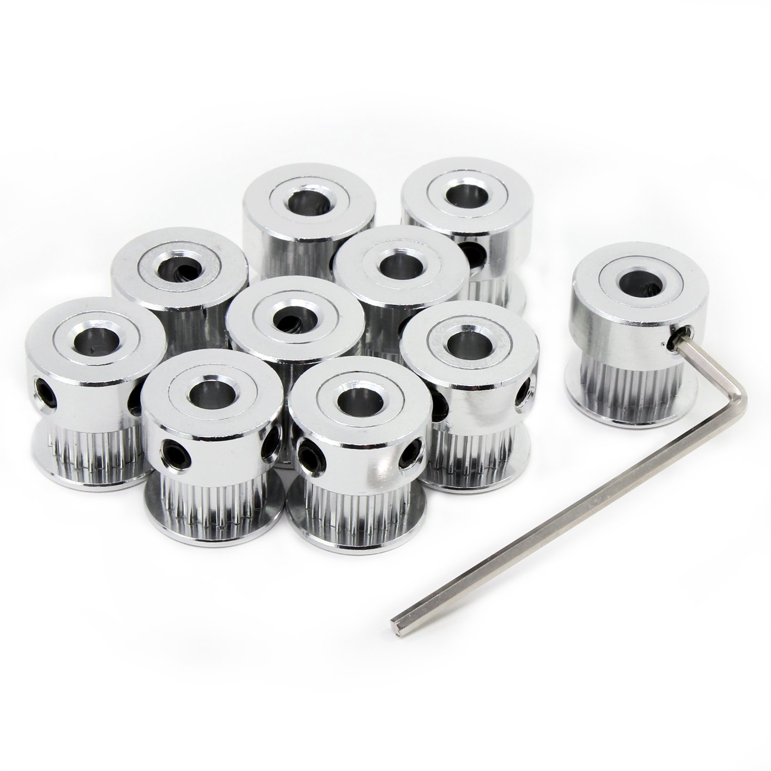 GT2 16 Teeth 5mm Bore Pulley Aluminium Timing Belt Pulley with M4 L-shaped Wrench for 3D Printer 6mm Width Timing Belt 10 Pieces Timing Pulley
