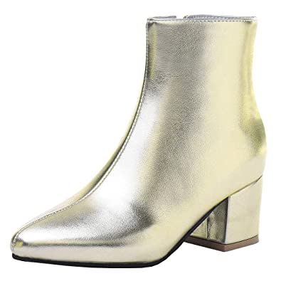 92a24d0ee509 Vitalo Womens Mid Chunky Heel Pointed Toe Ankle Boots Zip Up Autumn Winter  Shoes Size 10UK