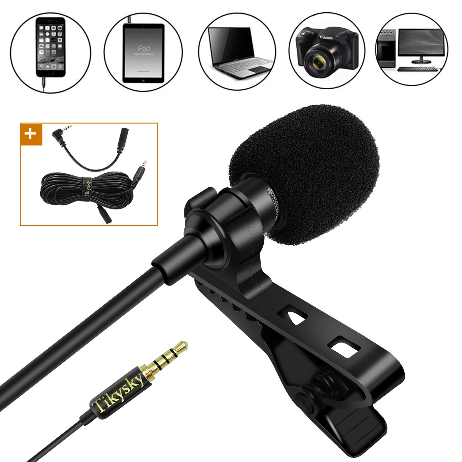 Lavalier Lapel Microphone,Tikysky Clip On Lav Mic for iPhone Android Cell Phone Smartphone Camera Vlog Interview Video Recording Podcast by Tikysky