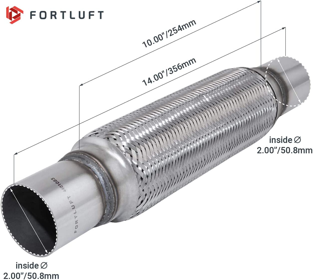 FORTLUFT Exhaust Flex Connector With Extension Pipes Stainless Steel 1.75x4.00x8.00//45x102x203mm