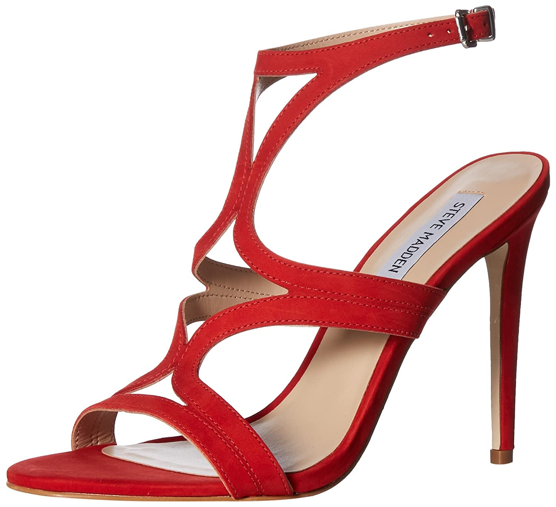 Red Nubuck Steve Madden Womens Sidney Heeled Sandal