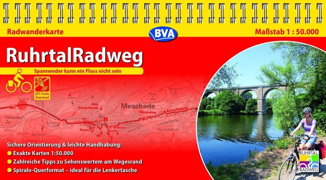 Kompakt-Spiralo BVA RuhrtalRadweg Von der Quelle bis zur Mündung Radwanderkarte 1:50.000: mit Begleitheft Landkarte – 1. Februar 2018 BVA BikeMedia GmbH 3870738472 Deutschland Ruhrgebiet