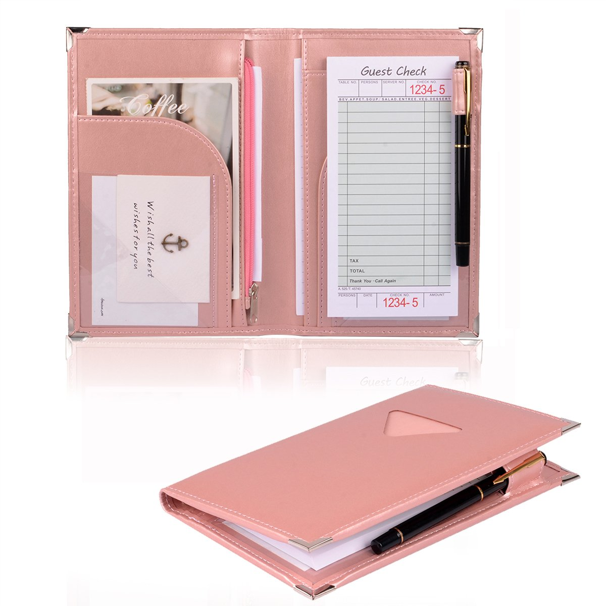 Server Book for Waitress or Waiter, Pink Cute Server Wallet with Zipper Pocket for Restaurant Receipt or Money Check Holder, Waiter Book Organizer Fits in Server Apron + Includ Server Note Pad (Pink)