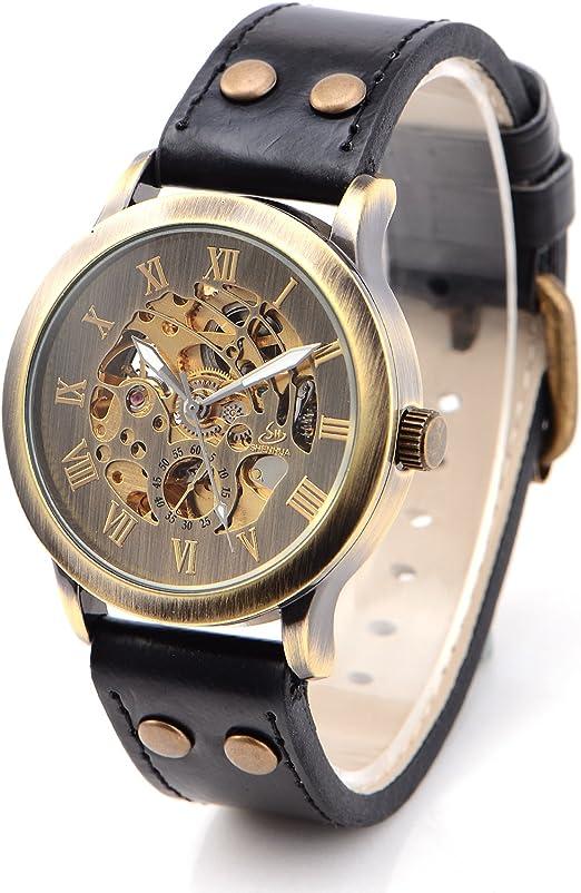 Unique montre-bracelet bracelet en cuir noir en cuir boîte cadeau