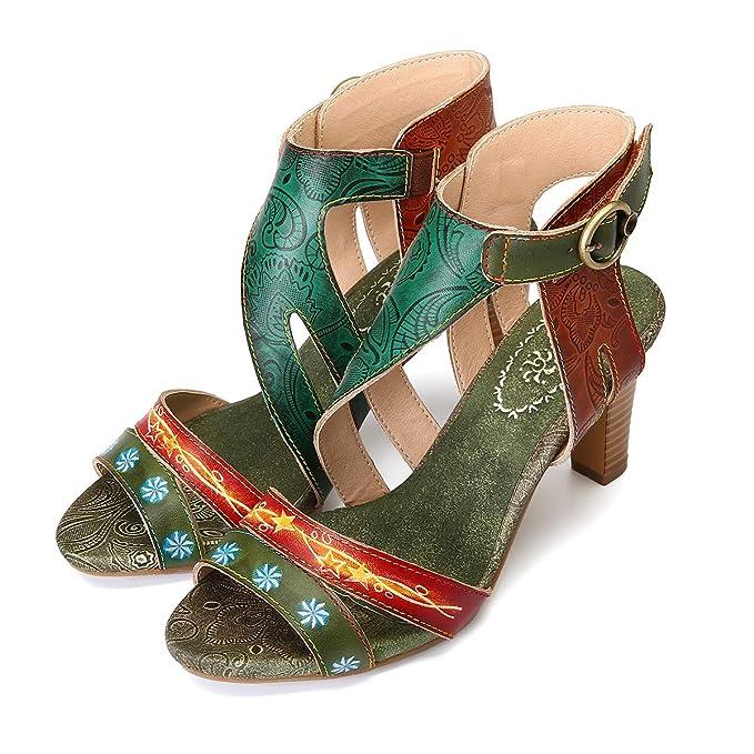 gracosy Sandalias Cuero Verano Mujer Estilo Bohemia Zapatos de Tacones Altos para Mujer de Dedo Sandalias Talla Grande Chanclas Romanas de Mujer Verde Rosso Hecho a Mano Los Zapatos 2019
