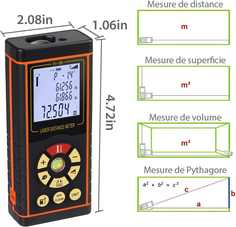 Medidor de Distancia L/áser Hasta 60M Tel/émetro L/áser Port/átil con Burbuja de Nivel y LCD Retroiluminado