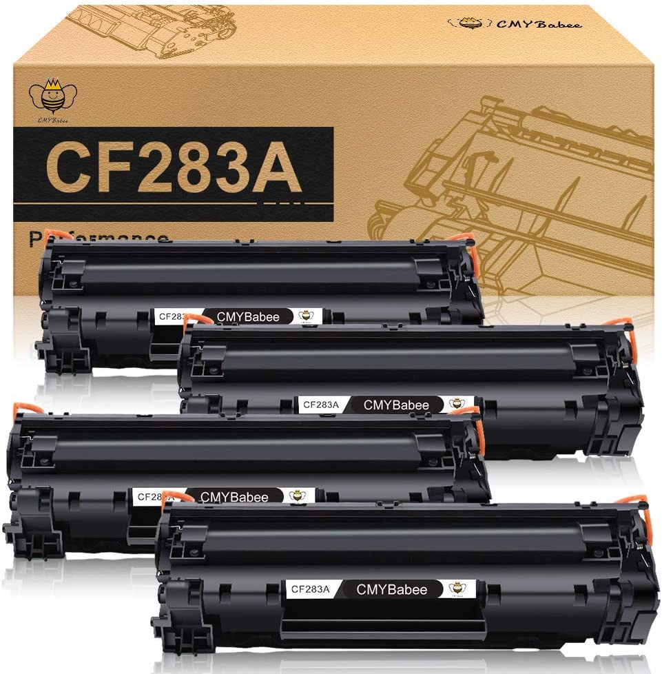CMYBabee Compatible Toner Cartridge Replacement for HP 83A CF283A Work with HP Laserjet Pro MFP M125a M125nw M127fn M127fw M201dw M201n M225dn M225dw(Black, 4-Pack)