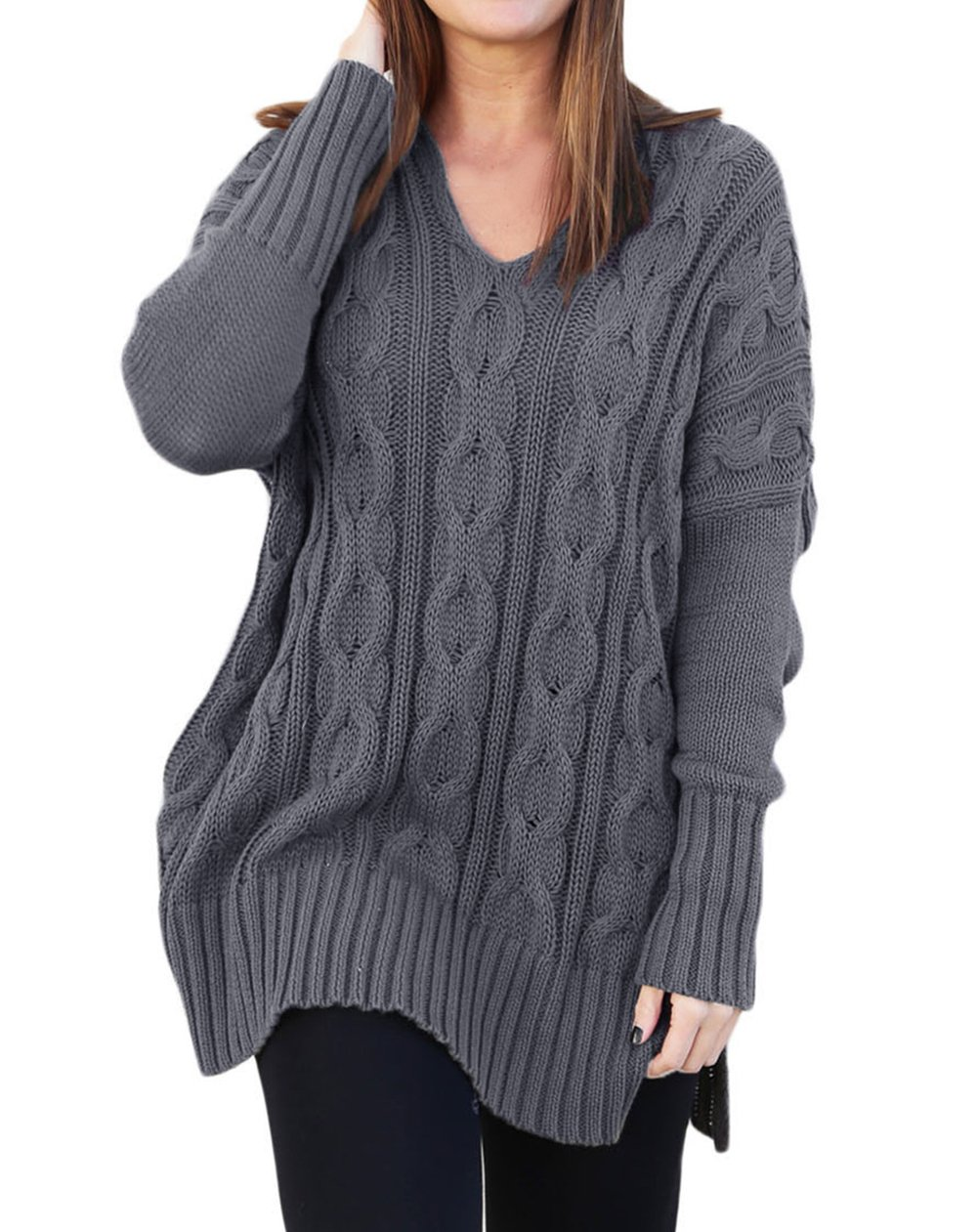 Shawhuwa Womens V Neck Long Sleeve Loose Knit Sweater Pullover Top L Gray