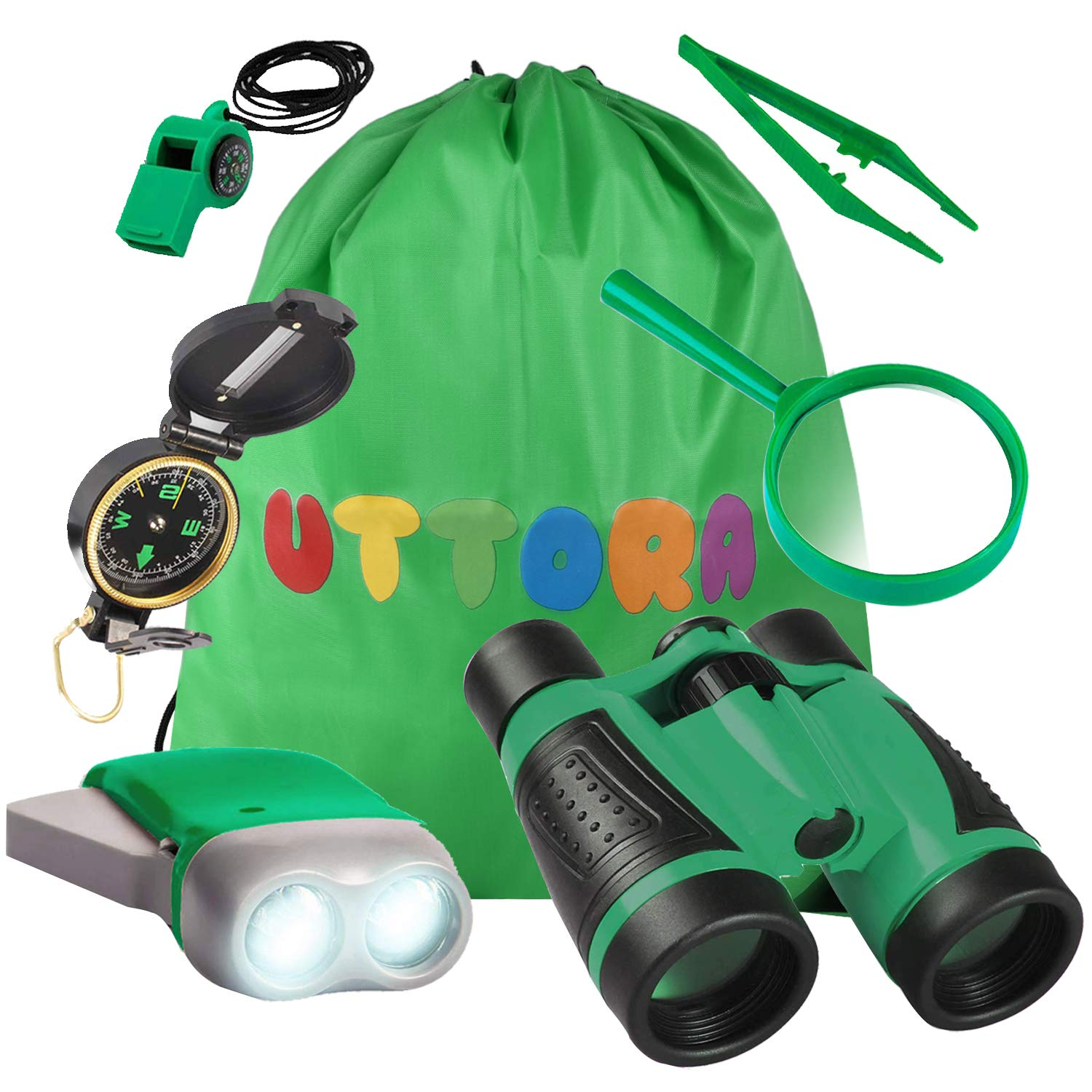 UTTORA Outdoor Explorer Kit Gifts Toys Kids Binoculars Set, Outdoor Exploration Set, Best for 3 4 5 6-12 Year Old Boy and Girl, Kids Telescope Adventure Kit, Children Outdoor Educational Kit