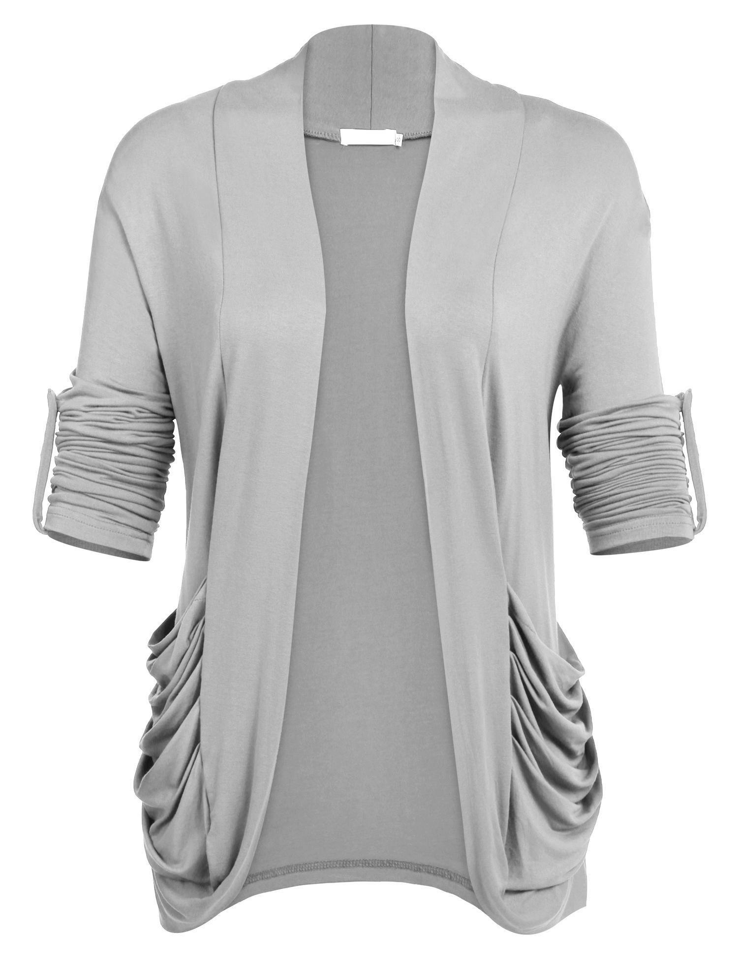 Zeagoo Women's Plus Size Long Sleeve Semi Sheer Draped Front Flyaway Cardigan Gray L