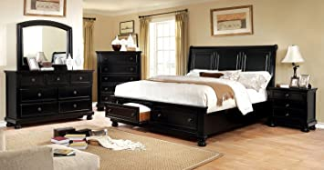 Dimensions Of A Queen Size Bed.Amazon Com Castor Collection Transitional Bedroom Furniture 4pc