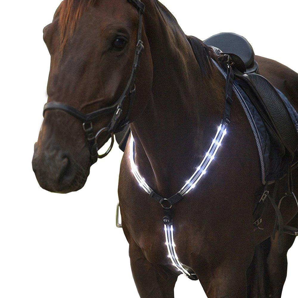 USB recargable LED intermitente caballo placas de pecho collares altamente visible iluminado caballo equitación equipo de protección MOYLOR