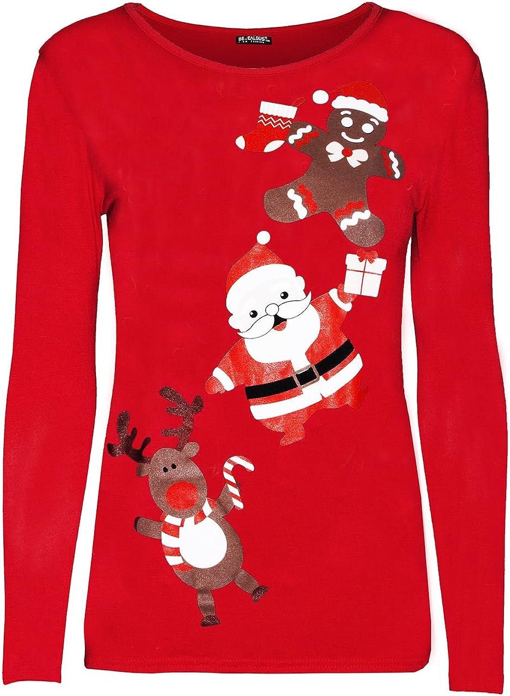 Womens Ladies Christmas Long Sleeve Gingerbread Climb Gift Star Stretchy T Shirt