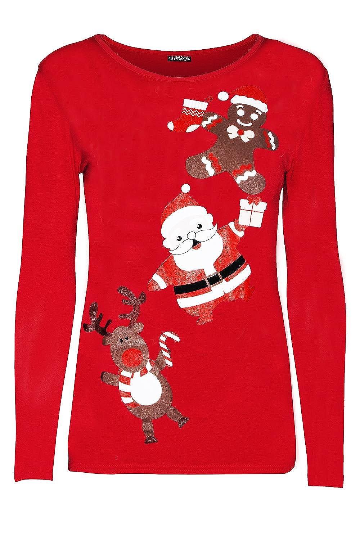 Oops Outlet Womens Ladies Christmas Xmas Reindeer Gingerbread Santa Long Sleeve T Shirt Top BE JEALOUS