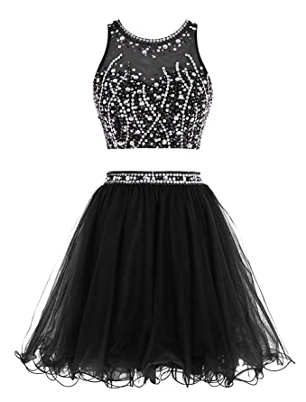 ALAGIRLS Short Beading Prom Dress Two Pieces Tulle Homecoming Party Gowns Black 6