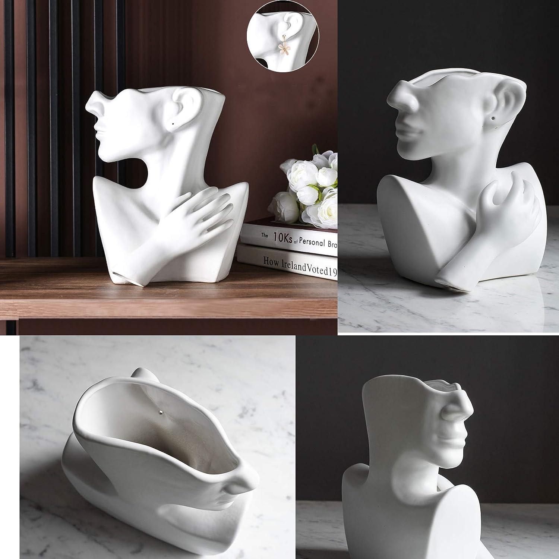 Maygone Vase en c/éramique blanc avec t/ête de femme pour fleurs s/éch/ées D/écoration de table