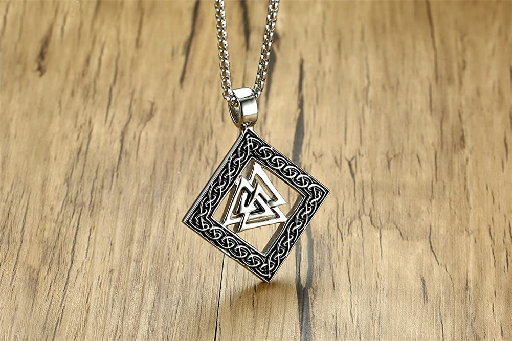 PJ Jewelry Mens Stainless Steel Norse Viking Warrior Slavic Valknut Knot Pagan Amulet Pendant Necklace,24 Chain