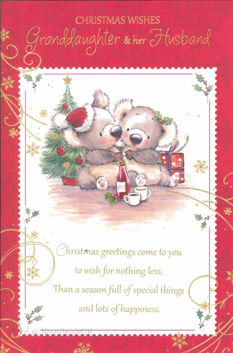 Christmas To Granddaughter And Her Husband Greeting Cards Cute