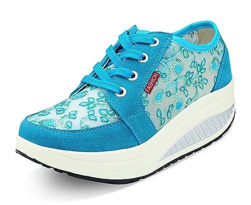 Mujer Zapatos de Deporte Adelgazar Zapatos Sneakers para Caminar Zapatillas  Aptitud Cuña Plataforma Zapatos de Cuero Gamuza Primavera Verano Zapatos de  ... f2bd9404393a