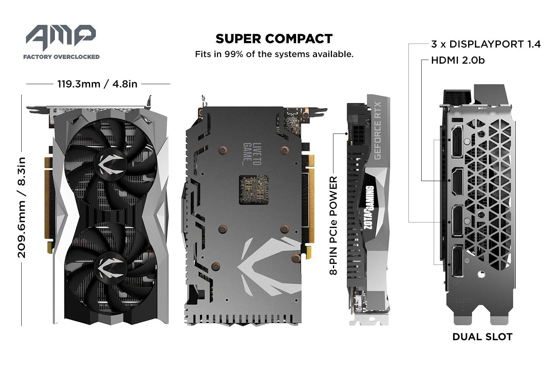 ZOTAC GAMING GeForce RTX 2060 AMP 6GB GDDR6 192-bit Gaming Graphics Card,  Super Compact, IceStorm 2 0, ZT-T20600D-10M