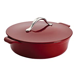Anolon Vesta Cast Iron Cookware 5-Quart Round Covered Braiser, Paprika Red