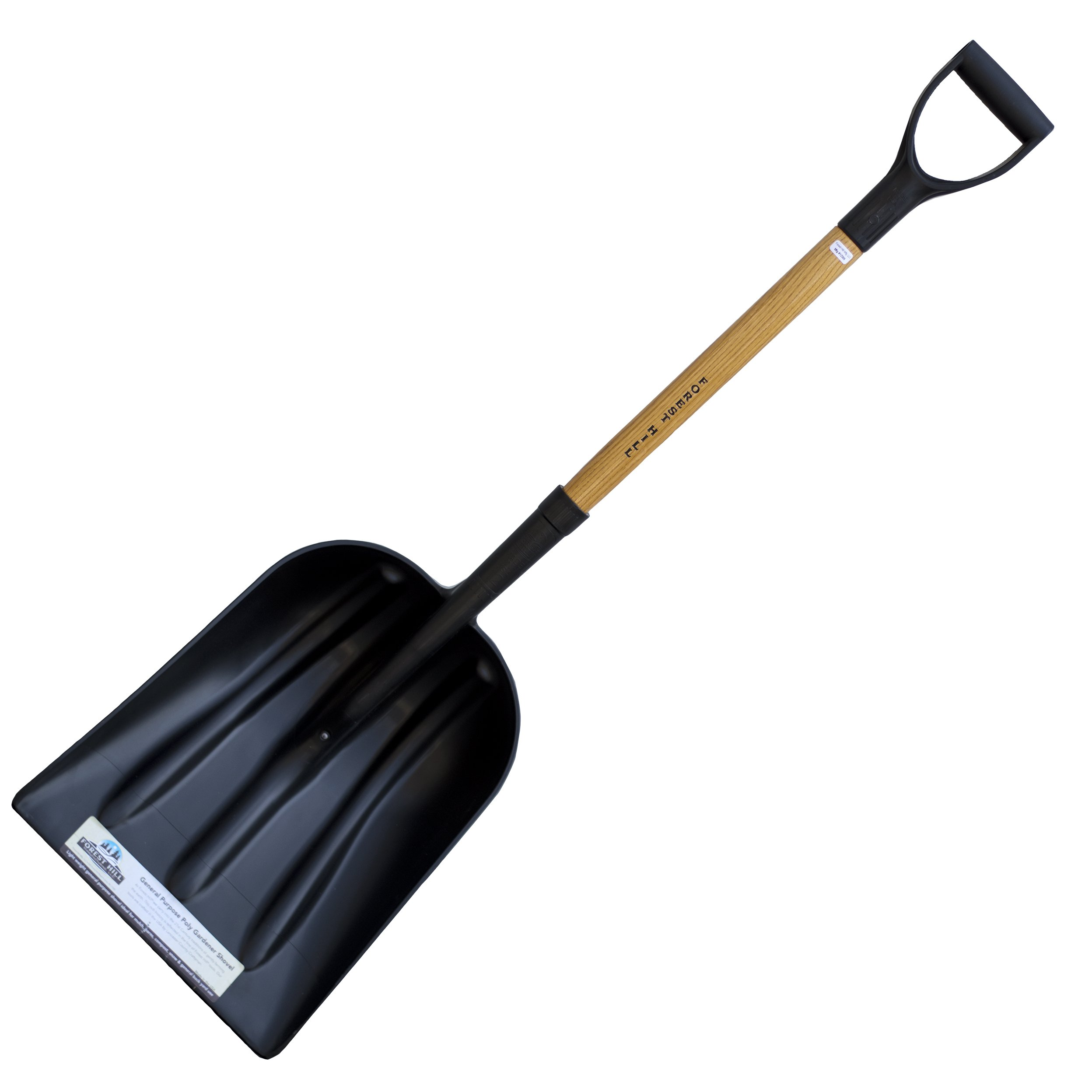 FOREST HILL Manufacturing General Purpose Poly Gardener Scoop Shovel (Black Poly, 48-Inch)