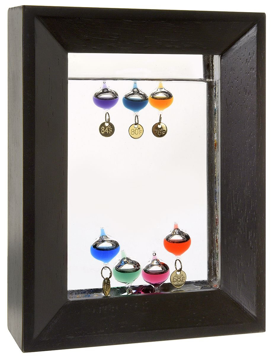 Lily's Home 7'' Rectangle Wood Frame Galileo Thermometer with 7 Multi Color Floats and Gold Temperature Tags