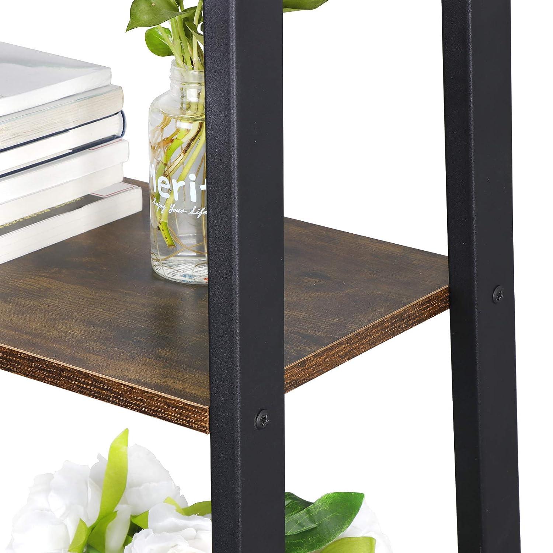 ZENSTYLE 4 Tier Bookshelf Rustic Ladder Shelf Storage Rack Wall Shelves Corner Bookcase Shelving Home Decor Plant Flower Stand with Metal Frame /& Wood Leaning for Living Room,Bathroom,Kitchen,Office