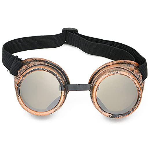 8b970ba36ca Amazon.com  Skeleteen Steampunk Goggles Costume Accessories - Cyber  Victorian Welding Glasses - 1 Piece  Clothing