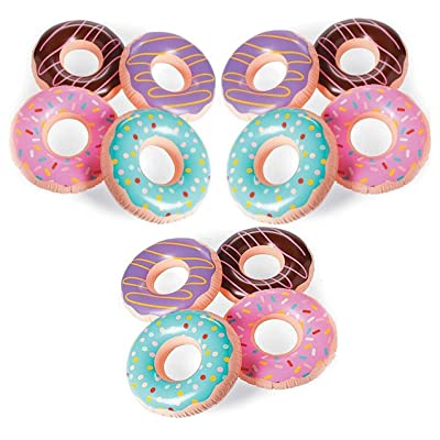 4E's Novelty Inflatable Donut Tubes Decoration Pack of 12, Great Pool and Beach Party Favor Supplies, 15 Inches Bulk Party Favors: Toys & Games