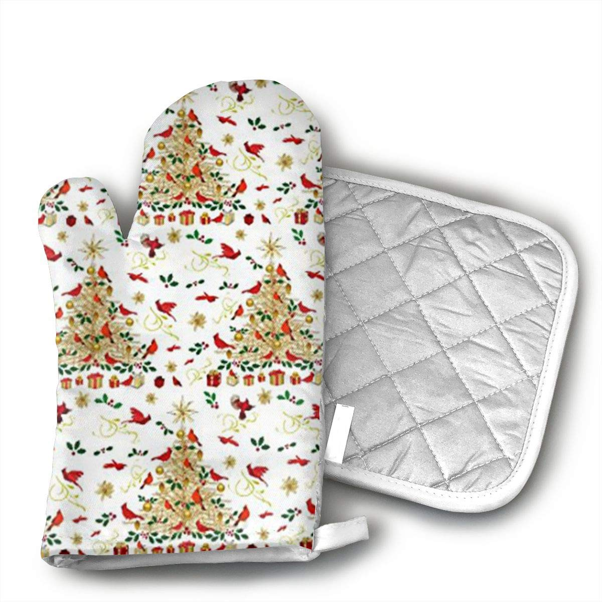 A Cardinal Christmas Wall Hanging Silicone Oven Mitts And Pot Holder Kitchen Set Non-Slip Grip,Heat Resistant,Oven Gloves And Pot Holders 2pcs Set For BBQ Cooking Baking,Grilling,Machine Washable