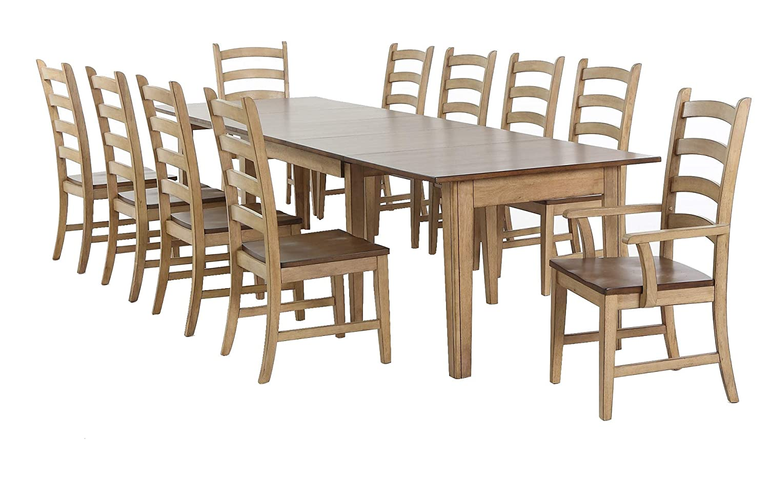 Sunset Trading Brook Dining Table Set, Expandable, 4 Size, White